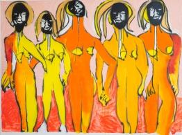 Yoga Flunkies. Acrylic on canvas. 150 x 200 cm.