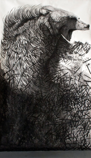 Assimilation in the Snow I. Ink and graphite on heavy watercolor paper. 305 × 183 cm.