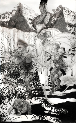 Assimilation in the Snow II. Ink and graphite on heavy watercolor paper. 305 × 183 cm.