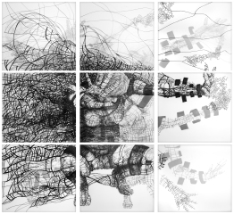 Disseminating Sentiance. Pen and ink on 3 layers of drafting film. Nine pieces, total size 156 x 156 cm.
