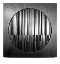 David Eisenhauer. Meditation nr 1. Sculpture in stained wood. 89 x 89 x 15 cm.