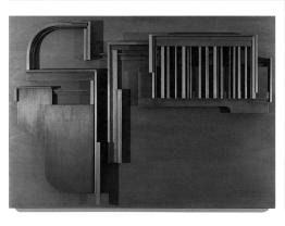 Svart Opus nr 3. Sculpture in stained wood. 80 x 110 cm.