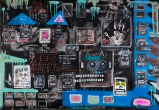 Homeomorphic, 2016. Acrylic and spray on linen canvas. 150 × 200 cm.