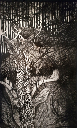 Coils in the Dark. Ink and graphite on heavy watercolor paper. 305 × 183 cm.