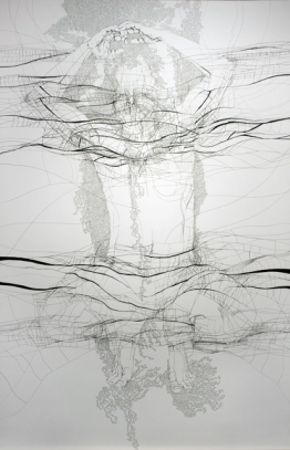 The Realigning Self, 2009. Pen, ink and gouache on heavy watercolor paper. 183 × 115 cm.