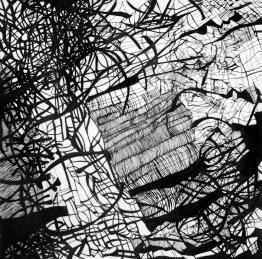 Migration III, 2017. Ink on drafting film. 40 × 40 cm.
