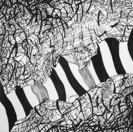 Migration IV, 2017. Ink on drafting film. 40 × 40 cm.