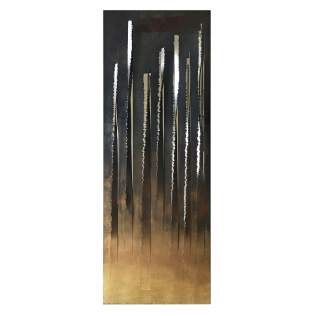 False Friends. 200 cm x 100 cm x 10 cm. Gold leaf-treated etched and waxed iron, silver leaf-treated etched iron, mirror-polished stainless steel. € 8 700