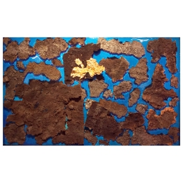 "No 00. Floating Island series. 60 cm x 95 cm x 5 cm. Blue coloured resin, plasma-cut wrought iron ""crusts"", gold leaf. € 6 000"