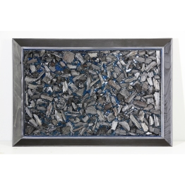 Charcoal No 00. Floating Islands series. 51 cm x 81 cm x 8 cm without frame. Cool gray coloured resin, charcoal. € 5 000