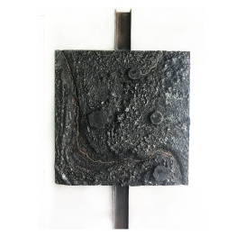 Lava Flow. Fire series. 100 cm x 100 cm x 6 cm. Concrete, burned and cast extruded polystyrene. € 8 800