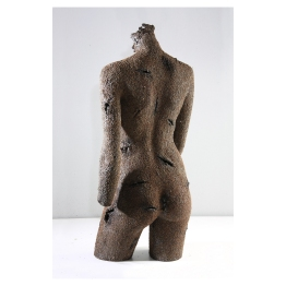 Scorched Venus No 00. Human Resistance series. 182 cm x 60 cm x 40 cm. Etched iron and aluminum filings. € 6 900