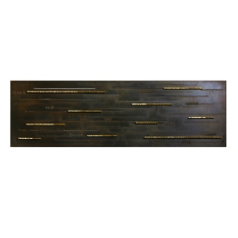 Wounds no 04, 2015. 196 cm x 60 cm x 5 cm. Etched and burnished iron, machined bronze bars. € 6 500